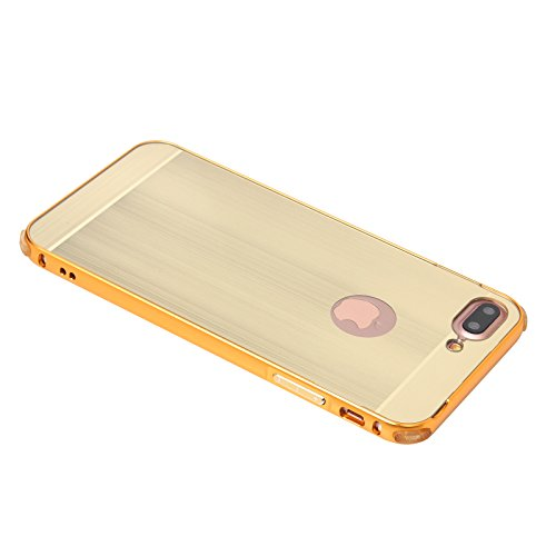 FindaGift iPhone 7 Plus Hülle, Ultra Schlank Dünn Metall Frame Bumper Case mit Spiegel Bewirken Hart PC Back Cover Schutz Stoßfest Case für iPhone 7 Plus Silber Golden