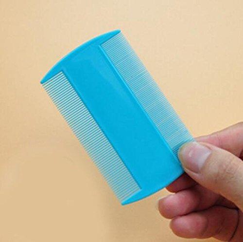 1 x Robuster doppelseitiger Nissenkamm für Kopfläuse mit Halter (auch ideal für Haustierflöhe) entfernt Nissen, Läuse, Flöhe und EierFeingezahnter Kamm für Kopfläuse blau