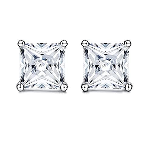 Pair of Gorgeous CRYSTAL Clear Princess Cut Square Simulated diamond
