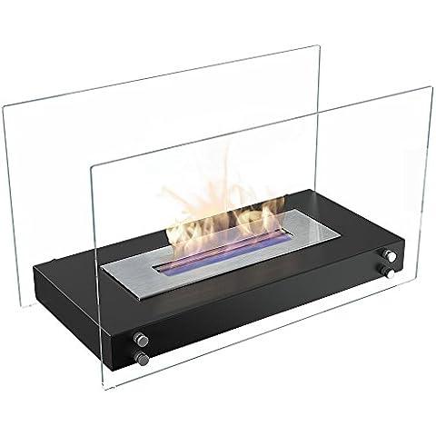 Etanol chimenea modelo Roma con sistema seguro de combustión, TÜV certificado, chimenea de mesa color: negro
