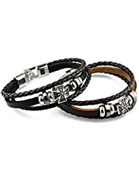 Hot And Bold Authentic Stylish Cross Charm Genuine Leather Wrap Bracelet For Men / Boys For Daily /Party/Casual...