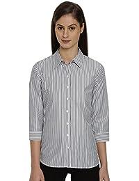 Bombay High Women Grey Slim Fit Striped Shirt