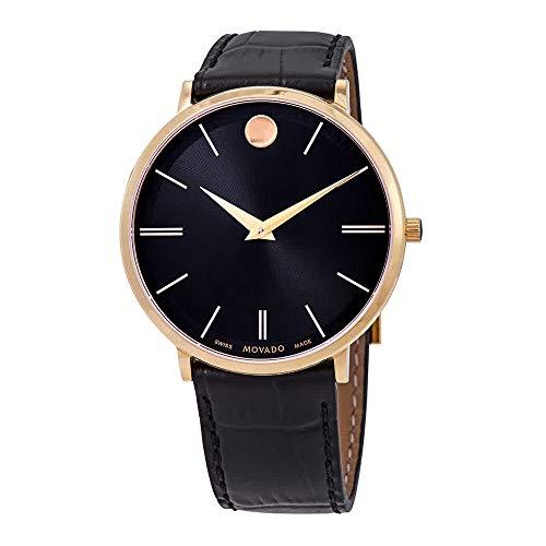 Movado Ultra Slim Homme 40mm Bracelet Cuir Noir Saphire Quartz Montre 0607173