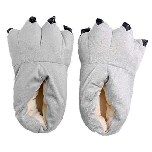 ShiyiUP Süße Hausschuhe für Damen und Herren Erwaschene Tier Pantoffel Winter Plüsch Kostüm Schuhe,L,Grau