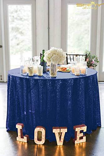 shinybeauty 48 en rond à Paillettes Bleu marine Nappe de table de mariage tissu à sequins Revêtement gâteau de mariage Bling cas Parti Decor Sparkle