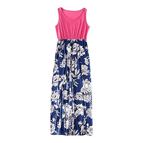 Livoral Mama der Dame ärmelloses Blumenpatchwork-Kleid, das Familienkleidung zusammenbringt(Blau(Mutter),X-Large)