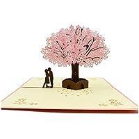 SUPRERHOUNG Tarjeta de felicitación 3D Pop-up Tarjeta de San Valentín Tarjeta Hecha a Mano Pareja Tarjeta de Cherry Blossom Tarjeta de Regalo (Rosa)