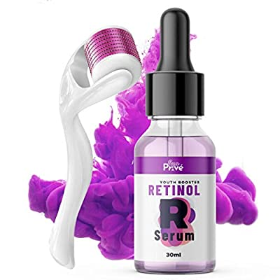 SunPrive Retinol Serum with Hyaluronic Acid - Powerful Anti Aging & Anti Wrinkle Solution, Fine Lines For Face - Also included Micro Derma Roller 0.5 MM - 100% Highest Quality.
