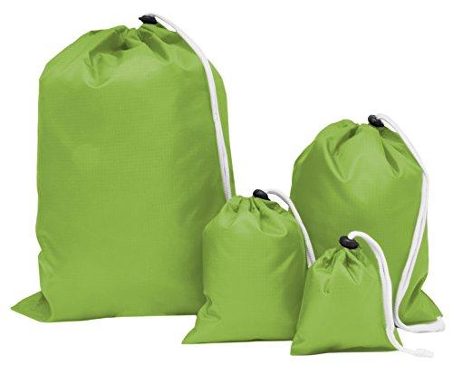 ZOLLNER® 4er Set Aufbewahrungsbeutel/Outdoorbeutel / Beutel/Flachbeutel wasserabweisend, mit Kordelverschluss mit Stopper, grün