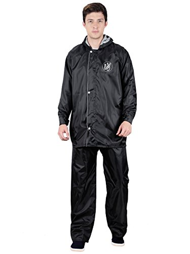 FabSeasons Men's Polyester Raincoat with Adjustable Hood and Reflector Back(Black, XL) - Pack: Top, Bottom and Storage Bag