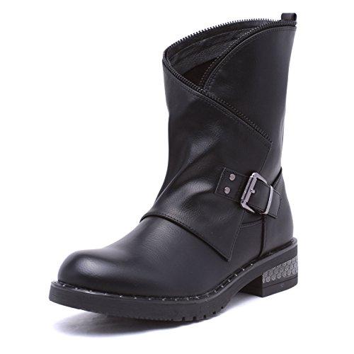 Mforshop scarpe donne stivaletti stivaletto tronchetto estivo invernale traforato eco pelle g339 - nero-g506, 39