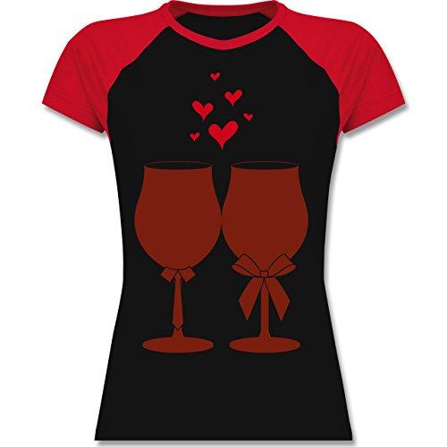 Symbole - Weingläser Wein - zweifarbiges Baseballshirt / Raglan T-Shirt für Damen Schwarz/Rot