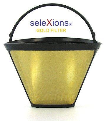 SeleXions Kaffee Goldfilter mit Titan antihaft Hartschicht 6-12 Tassen, Kaffeefiltergröße 1x4 mit...