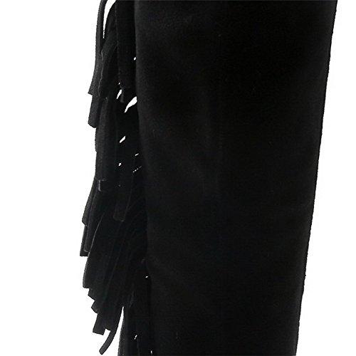 AllhqFashion Damen Blend-Materialien Rund Zehe Ziehen Auf Stiefel Schwarz-Fransig