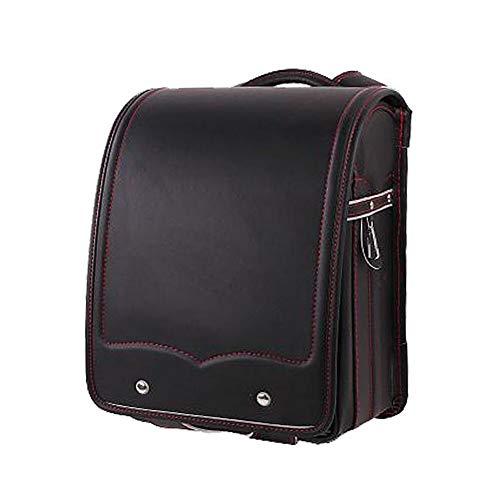 SHENGSHIHUIZHONG Halbautomatische Schultasche für Jungen und Mädchen (Senior PU-Leder) Leichter Regenschutz mit großer Kapazität (schwarz) (Color : Brown, Size : 13 x 9.8 x 6.6 inch)