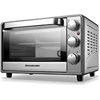 Homeleader Toaster Oven Fits 6-Slice Bread/12-Inch Pizza, Contertop Oven with Convection/Toast/Bake/Broil Function, Includes Bake Pan/Broil Rack&Tray Handle, Stainless Steel