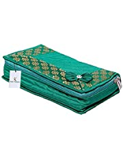 Kuber Industriestm Green Bow Designer Heavy Quilted Jewellery Storage Box