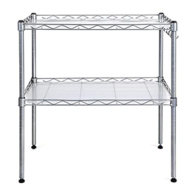 HOMFA Microwave Oven Rack Adjustable 2-Tier Steel Stand Shelf Organiser with 4 Hanging Hooks(54*34*58cm) produced by kissta - quick delivery from UK.
