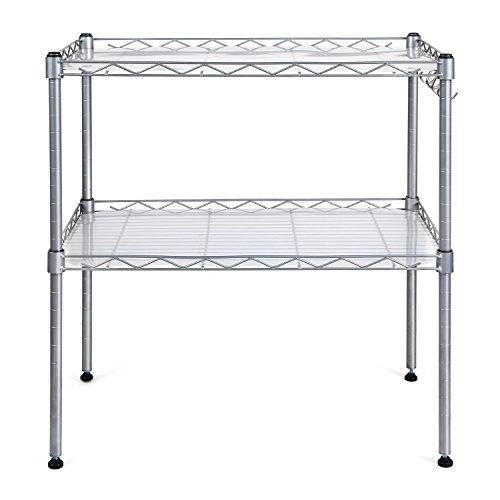 HOMFA Küchenregal Mikrowellenhalter Standregal Küchenschrank 2 Ablage Kohlenstoff Stahl mit 4 Haken