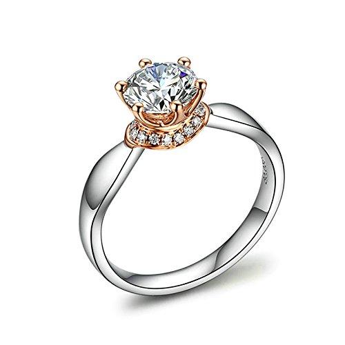Beydodo Anelli Oro 18k Anello Fidanzamento Donna 6 Poli SI F-G 50 Punto Anello di Diamante Brillante Rotondo Taglia 11