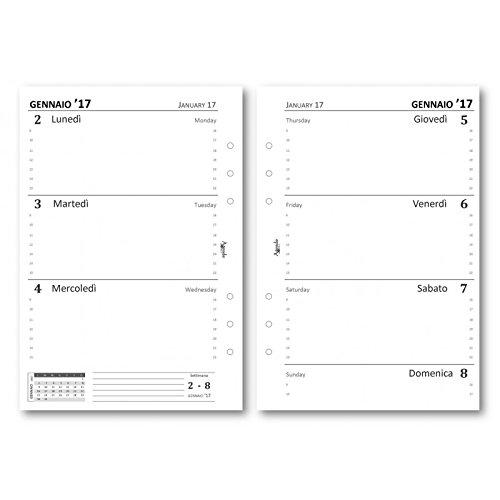 ricambio-agenda-2017-settimanale-bianco-senzarighe-14x21-ricambio-agenda-organizer