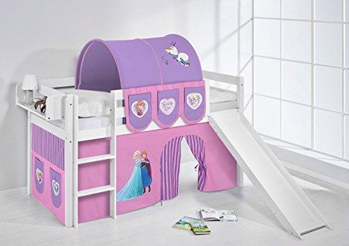 *Lilokids Spielbett Jelle Eiskönigin, Hochbett mit Rutsche und Vorhang Kinderbett, Holz, lila, 208 x 98 x 113 cm*