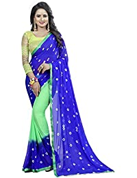 Kanchan Textiles Women's Chiffon Saree With Blouse Piece (KSH BLUE GREEN _Multi Color_ Free Size)