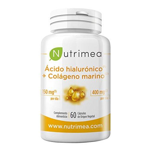 ACIDO HIALURONICO 150 mg + COLAGENO MARINO 400 mg - Natural 100% - Potente Antiedad - Reduce Arrugas - Hidrata, Regenera y Reafirma la Piel - Formula Competa Eficaz