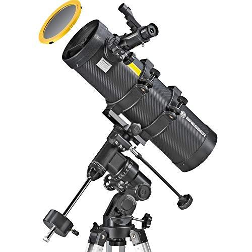 Bresser Spica 130/1000 EQ3, parabolisches Spiegelteleskop für Nacht und Sonnen mit Smartphone-Adapter und hochwertigen Objektiv Sonnenfilter zur gefahrlosen Beobachtung der Sonne im Weisslicht