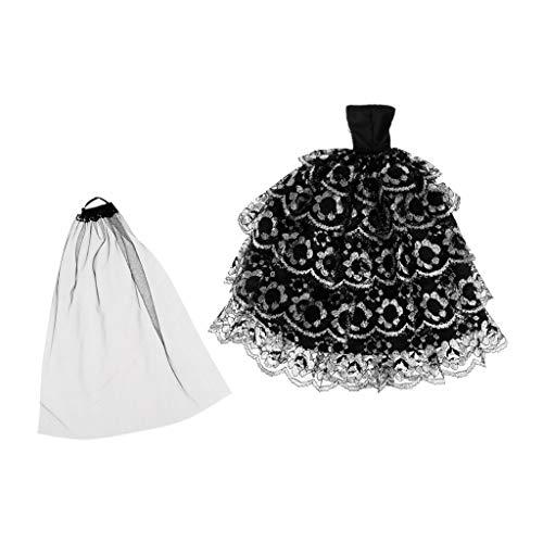 (Fenteer Puppe Spielzeug Hochzeit Kleidung Mädchen Puppe Braut Brautkleid mit Schleier für Puppen Doll)
