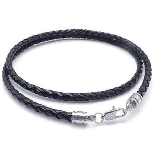 Acier Inoxydable Collier, Homme Colliers Pendentif Noir En Cuir Cord Corde Lien Fermoir 4Mm 16-30\