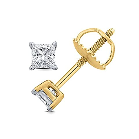 0.25 cttw (HI/I1 I2) Princess White Diamond Stud Earrings in 9K and 18K White and Yellow Gold. (18ct Yellow Gold)