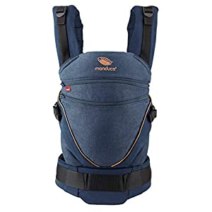 manduca XT Baby Carrier > All in One < Baby Carrier with Adjustable Seat, Newborn to Toddler, 3 Positions (Front, Hip & Back), No Infant Insert Needed, Organic Cotton (XT Cotton/denimblue -Toffee)   10