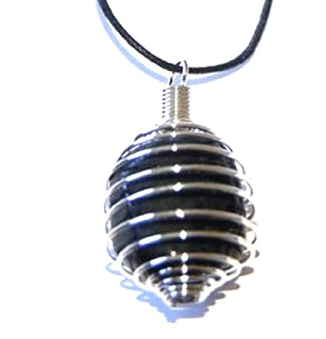 Black Tourmaline Crystal Pendant in Spiral Coil Psychic