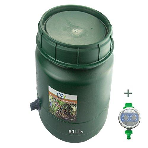 CS Drehdeckelfass 60 Liter Grün mit Tankdurchführung und Bewässerungscomputer für die drucklose Bewässerung