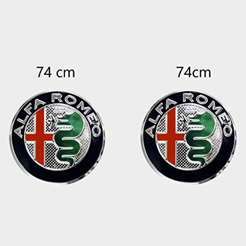 Set Emblem für Motorhaube und Kofferraum 74 mm Ersatz Silberabzeichen (2 Stück)