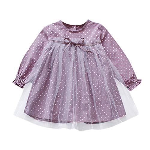 Happy Event Kleinkind Baby Kind mädchen Langarm Polka dot Party Dress Outfit Kleider Kleidung (Lila, 12-24 Monate-90)