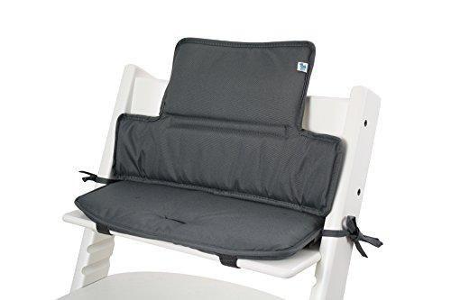 Tinydo Hochstuhl-Sitzkissen+ optimal für Stokke Tripp-Trapp und viele anderen Treppenhochstühle [dunkelgrau] - 2teilg. Set mit Memory-Schaum-Dämpfung - Sitzverkleinerer-Auflage für Babystühle!
