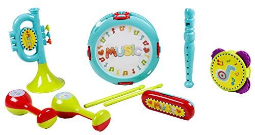 Bubble-Store Kinder Musik-Instrumente-Set für Vorschulkinder, 9 Teile, mit Mundharmonika, Blockflöte, Trommel, Trompete, Rasseln und Tamburin, bunt