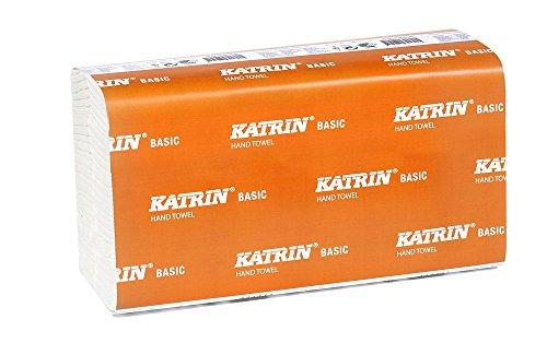 Katrin 343153Basic Interleaved Zig Zag Handtücher, 2-lagig, attraktives Windmühle Prägung, schmalem Breite, weiß (1080Stück)
