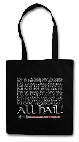 ALL HAIL Hipster Shopping Cotton Bag Borse riutilizzabili per la spesa - Odin Odhin Walhalla Walhall norvegese Valhalla Valhall Thor Loki Ragnarök Aesir Vanir Jotunheim Vikings Viking Ragnar