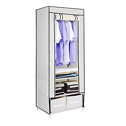 HST Mall Single Canvas Wardrobe with 2 Storage Drawers for Clothes Storage Cupboard Hanging Rail Shelves 160 x 59 x 43cm