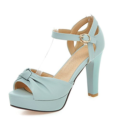 Aisun Damen Schleifen Peep Toe Knöchelriemchen Plateau Trichterabsatz Sandalen Blau
