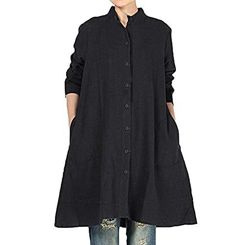TEBAISE Damen Herbst Baumwolle Leinen Voller vorderer Knopf Blouse Kleid mit Taschen Frauen-Baumwollleinen Lange Bluse unregelmäßiger Rand Buttons lose beiläufige ()