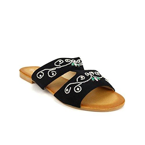 Cendriyon Mule Plate Noire CINK Mee Chaussures Femme Noir