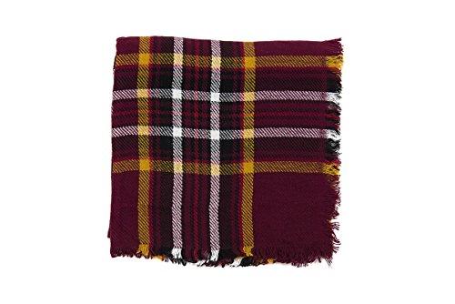 Lancioni 1973, écharpe carrée avec motifs écossais Bordeaux