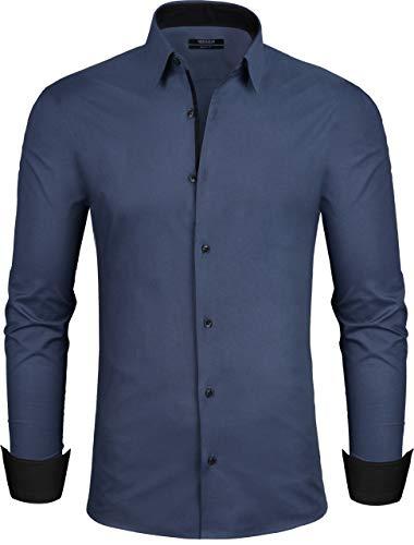 Grin&Bear Design Herren Hemd, Navy, Regular, XL, SH335