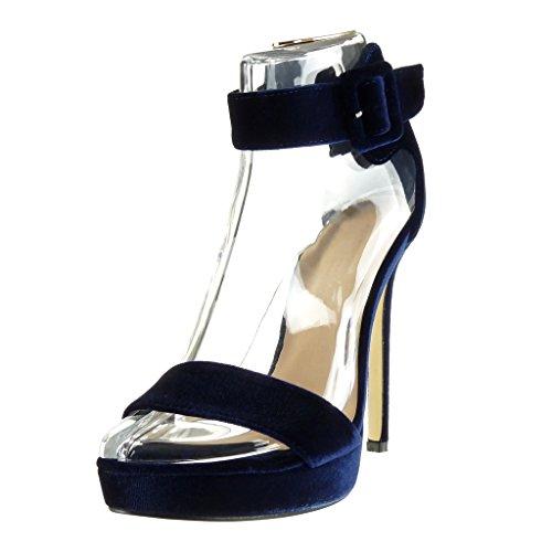 Angkorly Damen Schuhe Pumpe Sandalen - Stiletto - Knöchelriemen - Plateauschuhe - Schleife Stiletto High Heel 13 cm Blau