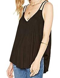 Leisial Mujeres Camiseta Chaleco sin Mangas Caramelo Sueltas Blusas de Verano Ocasional Color Sólido Tank Tops,Gris tamaño:S( Busto*86cm,la longitud 63cm)