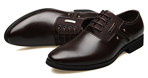 DADAWEN Homme Commercial Simple Style Leather Chaussure Brun foncé
